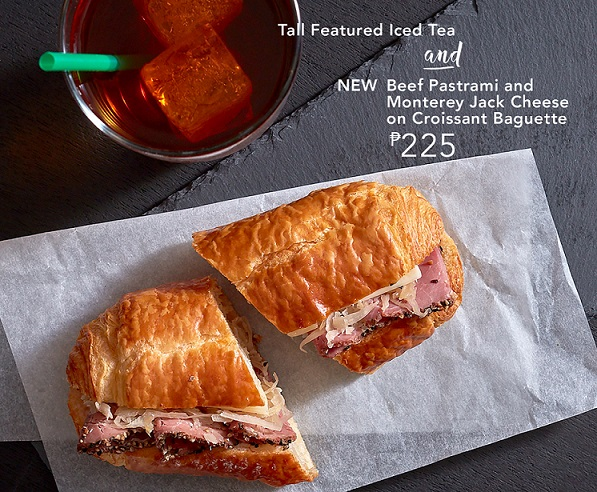 Beef Pastrami and Monterey Jack Cheese on Croissant Baguette