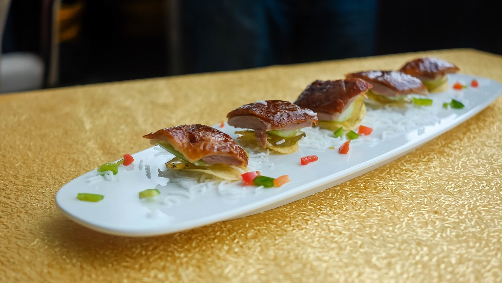 Peking Duck with Osmanthus Jelly on Potato Chip