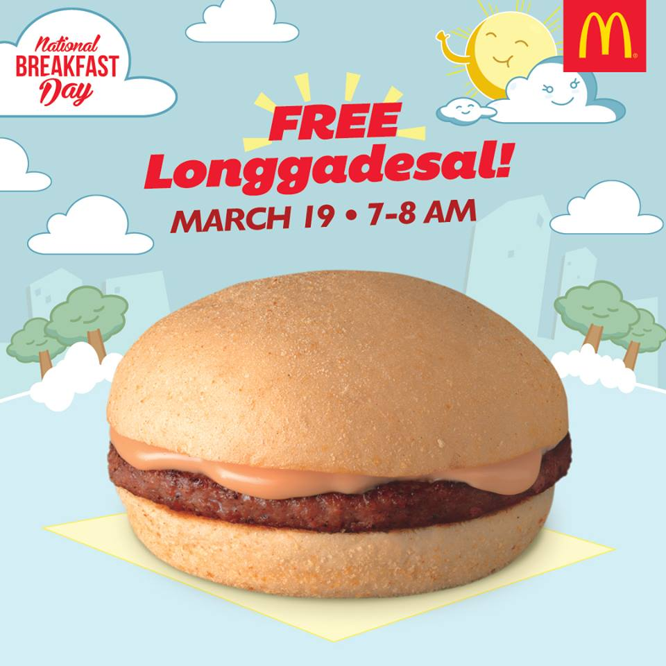 FREE McDonald's Longgadesal on March 19 for National Breakfast Day!