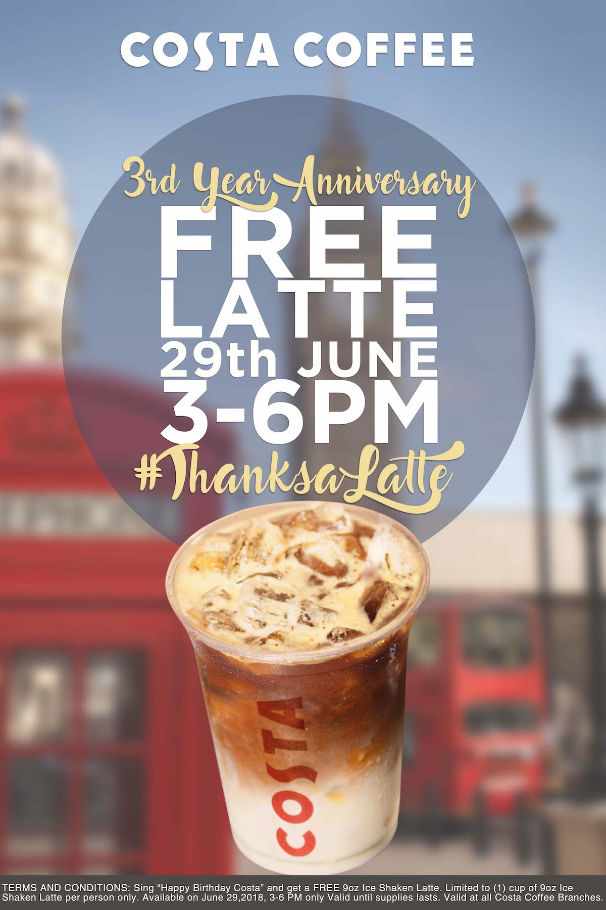Costa Coffee Says #ThanksALatte on it's 3rd Year
