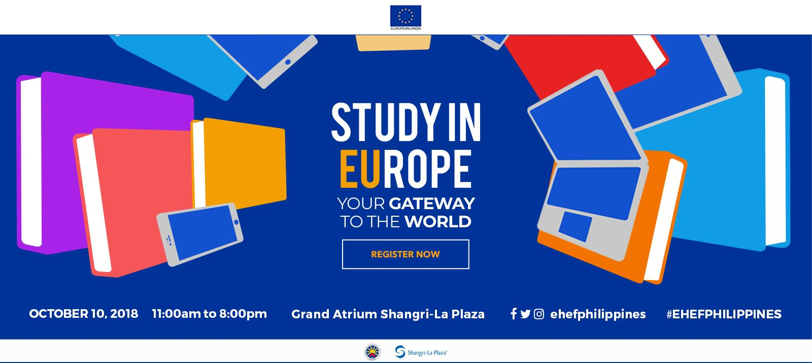 Come to the European Higher Education Fair on 10 October 2018 at Shangri-La Plaza
