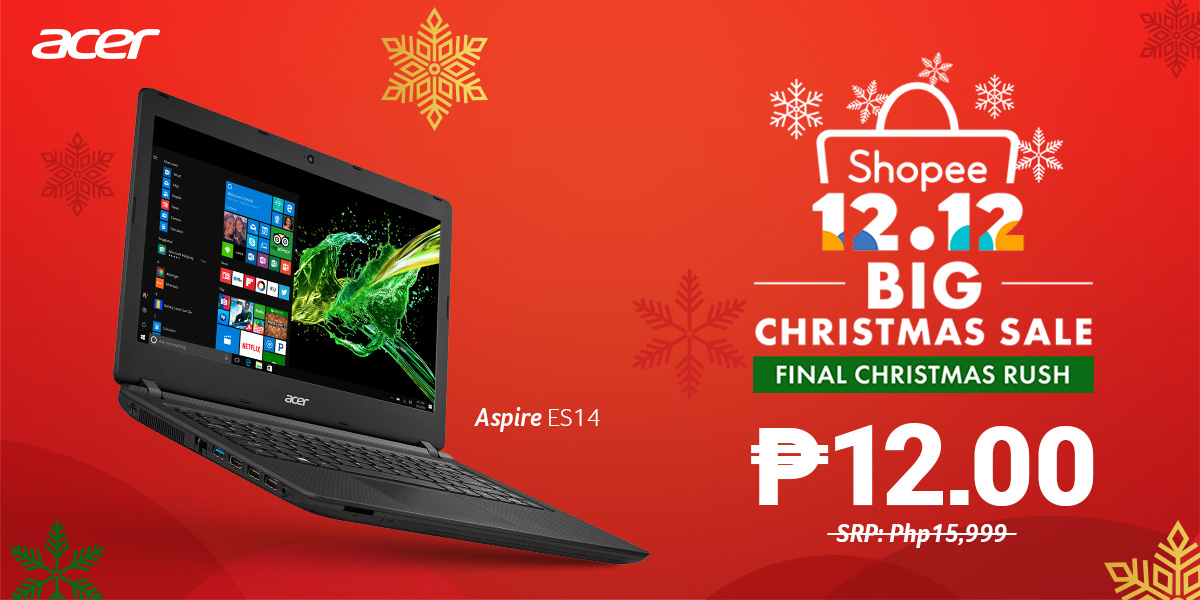 Acer Joins Shopee's 12/12 BIG Christmas Sale with a 12-Peso Laptop