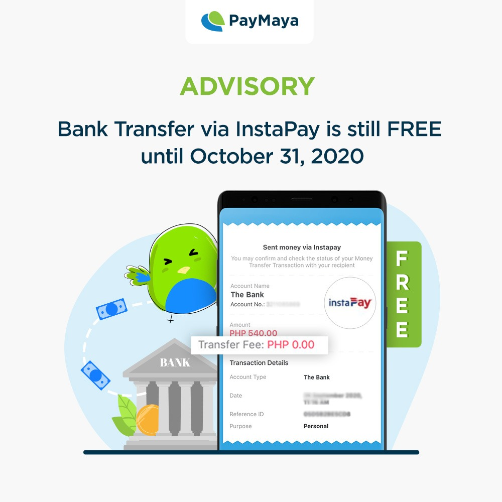 PayMaya Bank Transfers via InstaPay is still free until October 31