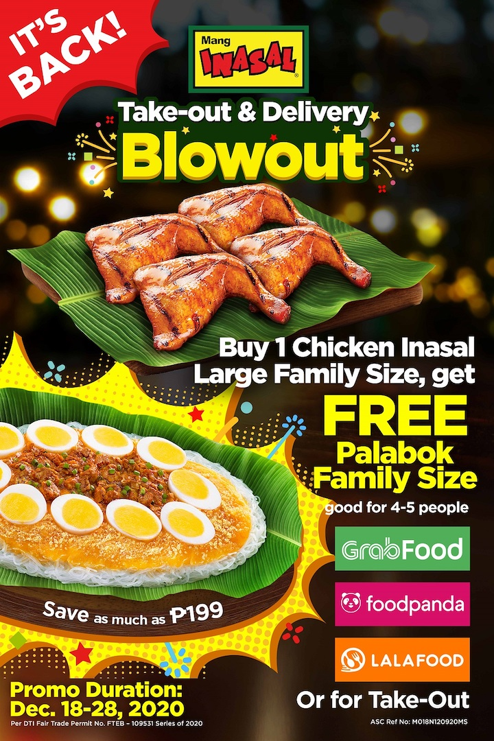 Mang Inasal Take-out and Delivery Blowout runs anew!