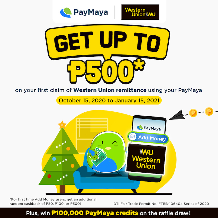 Get Up To P500 Cashback with Western Union and PayMaya