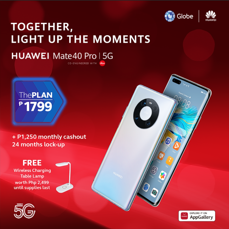 Get the HUAWEI Mate40 Pro 5G thru Globe's ThePlan